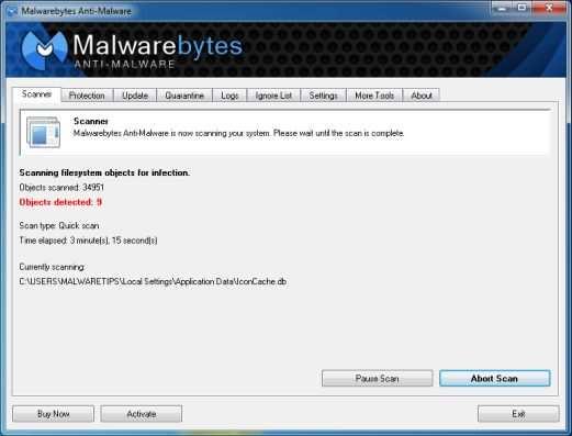 [Изображение: сканирование Malwarebytes Anti-Malware для Antivirus Security Pro]