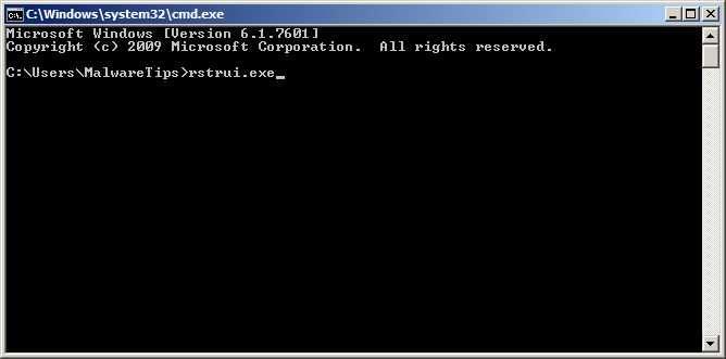 [Изображение: запустите восстановление системы, чтобы удалить вирус с экрана блокировки]