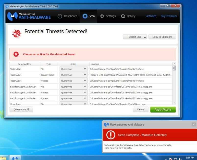 [Изображение: удаление вредоносного ПО, обнаруженного программой Malwarebytes Anti-Malware]