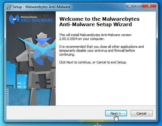 [Изображение: мастер установки Malwarebytes Anti-Malware]