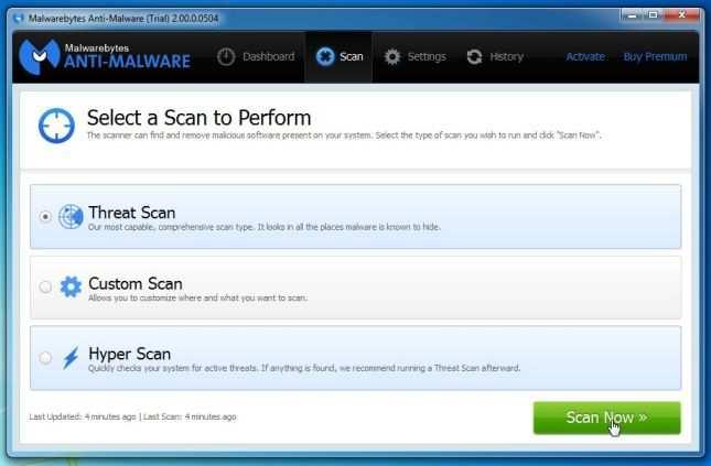 [Изображение: сканер угроз Malwarebytes Anti-Malware]