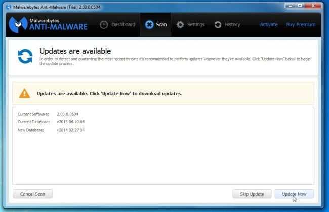 [Изображение: нажмите «Обновить сейчас», чтобы обновить Malwarebytes Anti-Malware]