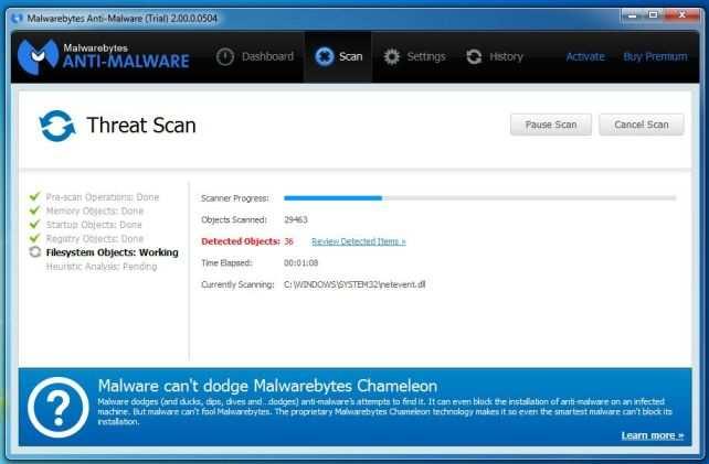 [Изображение: Malwarebytes Anti-Malware при выполнении сканирования]